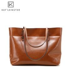 Oil Wax Genuine Leather Women Tote Handbag Fashion Soild Female Shoulder