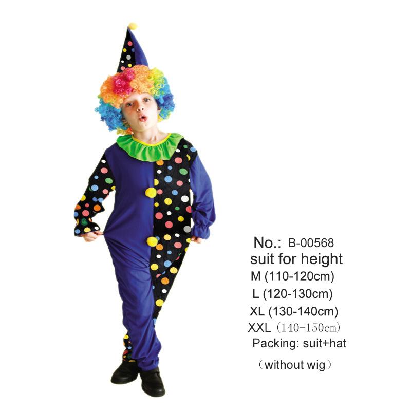 Child Neon Tartan Clown Tailcoat Boys Girls Circus Halloween Fancy Dress Outfit