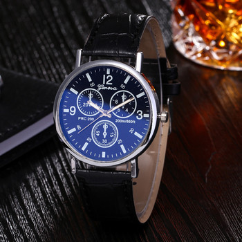 Blue Ray Glass Watches Men Vintage Luxury Unique Hollowed-out Stainles Steel Quartz Military Sport Leather Band Dial Wrist Watch image