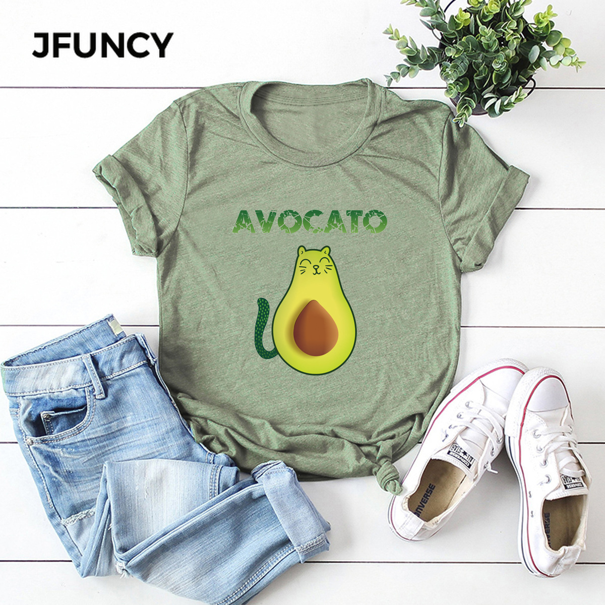 JFUNCY Cute Avocado Cat Print Oversize Women Loose Tee Tops 100% Cotton Summer T-Shirt Woman Shirts Fashion Kawaii Mujer Tshirt