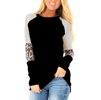 2019 Women Striped Leopard Patch Baseball Long Sleeve Shirt Femme Plus Size Top Shirt Casual Basic Clothes DG* цена 2017