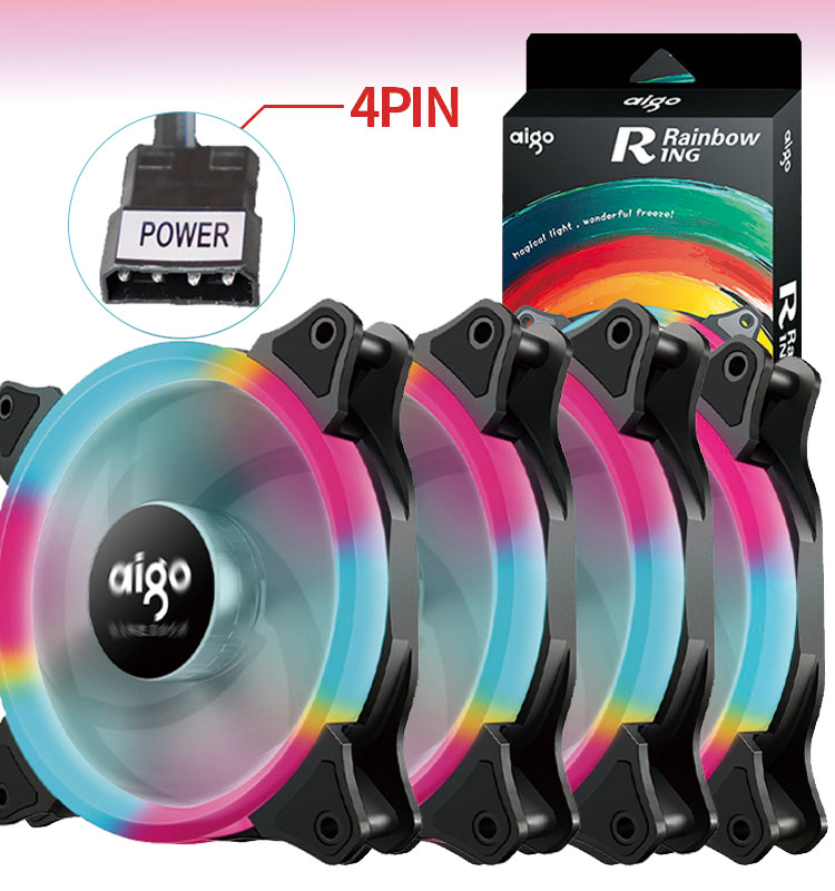 Aigo Rainbow PC Case Fan Cooler 120mm Fan 3pin LED fan Computer Cooling 12V Mute Simple installation Cooler Cooling Computer fan|Fans & Cooling| - AliExpress