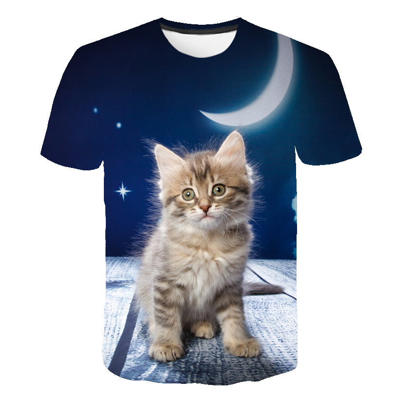 Summer New Men Women T-Shirts 2019 Harajuku Kawaii Cute Animal Nice Cat Print T-shirt Causal O-Neck Short Sleeve Loose Tops