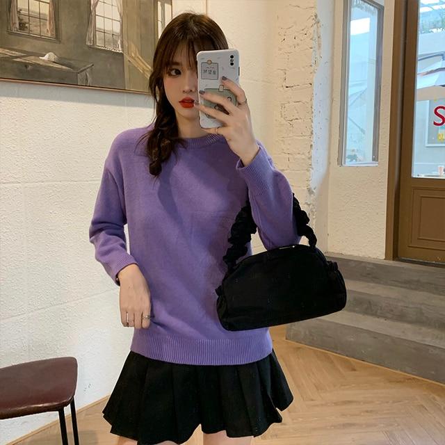 Фото новый повседневный свитер женский пуловер с круглым вырезом
