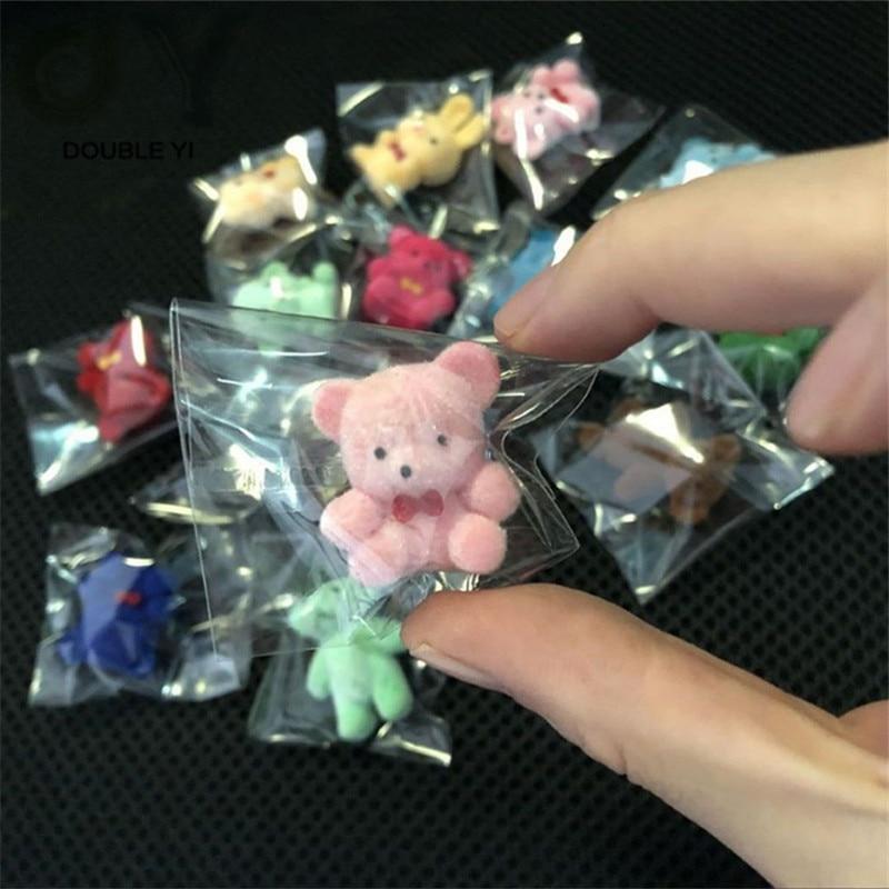 50PCCute Wholesale Mini Flocking Doll Small Animal Flocking Bear Ornament Pendant Flocking Doll Car Ornaments Cartoon Car Access