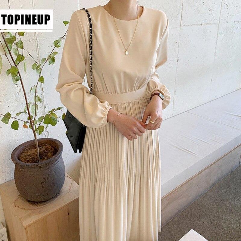 For Women Vintage Plain Puff Sleeve High Waisted Waist Tie Long Pleated Dress Fashion Women's Dress