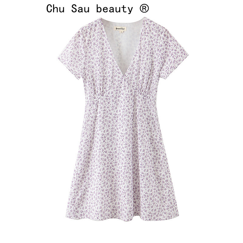 Chu Sau Beauty New Fashion Girl Summer Rose Print Sweet Cute Mini Dress Woman Holiday Fresh Casual V-neck Dress