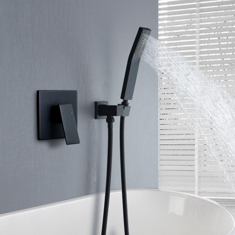 Prysznic kran do łazienki zestaw szczotkowane złoto w ścianie mosiądz łazienka bateria natryskowa krany rączka prysznica czarne krany łazienkowe