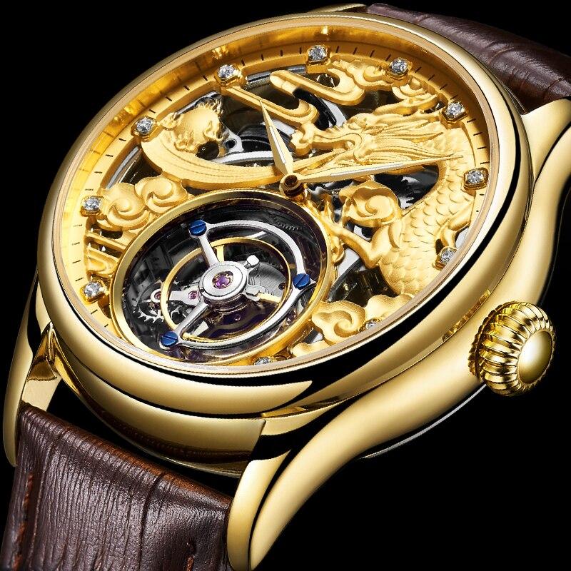 Novo relógio Turbilhão GUANQIN Originais dos homens top de luxo da marca de Safira à prova d' água esqueleto Turbilhão Mecânico relogio masculino