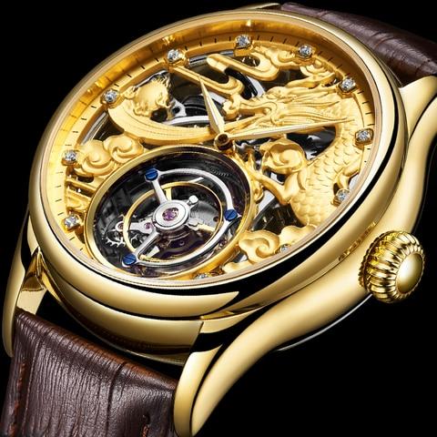 Marca de Luxo à Prova Nova Guanqin Tourbillon Original Relógio Masculino Dluxury Água Esqueleto Safira Mecânica