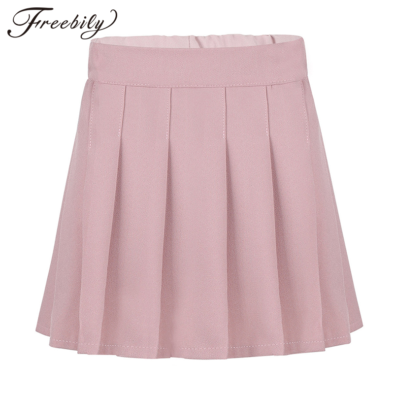 School Girl Uniform Skorts Pleated Elastic Waistband Skater Scooter Skirt With Hidden Shorts Cosplay Korean Girls Student Skirts
