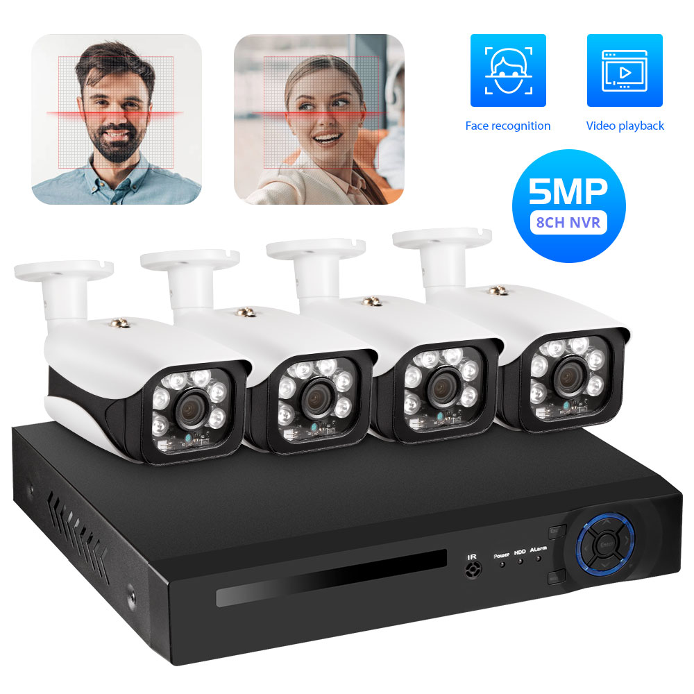Face Recognition NVR 8 CH P2P IP Video Recorder Supports H.265 Onvif 1HDMI+1VGA Smart Video Analysis 5.0M Camera POE NVR