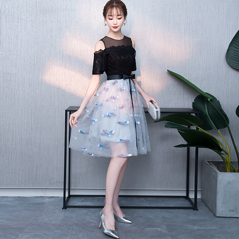 Flower Embroidered Cocktail Dresses short Lace evening party Elegant A Line  formal Party Dresses prom dress