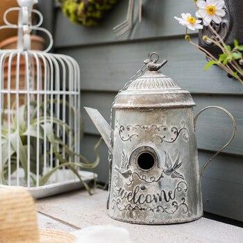 European Country Metal Iron Kettle Bird House Bird Cage Decoration Ornaments Ornaments Garden Garden Villa Bird House