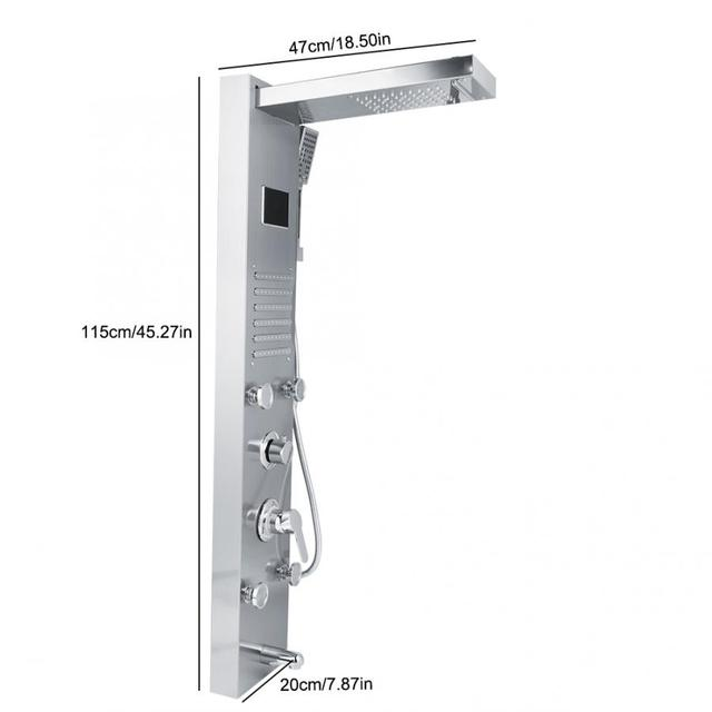 Stainless Steel Thermostatic Bathroom Shower Panel 5 Functions Water saving Waterfall Spray LED Temperature Display Column