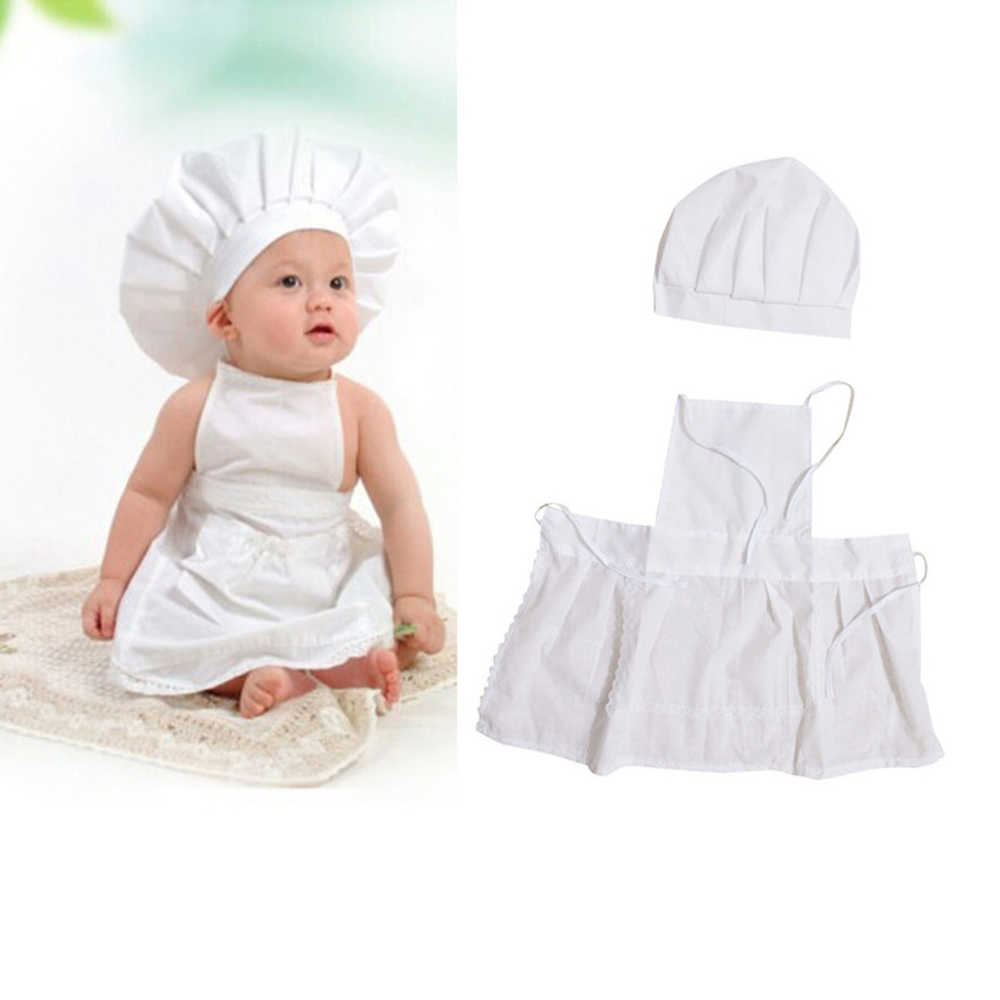 Cute Baby Chef Apron&Hat For Kids Costumes Cotton Blended Chef Baby White Cook Costume Photos Photography Prop Newborn Hat Apron