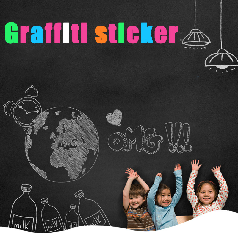Wall Sticker Whiteboard Self-adhesive Blackboard Removable Chalkboard Message Note White Board for Kids Painting School Office image
