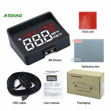 Hud a100s com capô pára-brisa projetor tensão alarme obd2 ii euobd carro head-up display sistema de aviso de excesso de velocidade