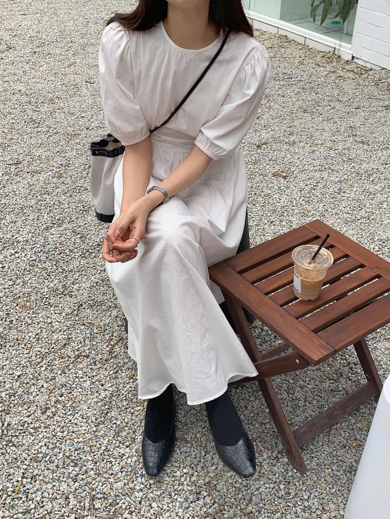 H26457308347f4da3906b0cb1d7ce4fa4c - Summer O-Neck Short Sleeves Elastic-Waist Calf Length Solid Dress
