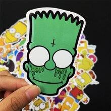 50pcs/Lot Anime Sticker Vinyl Cartoon Simpsons Stickers Laptop Sticker Decal Fridge Skateboard Car PVC Graffiti Kids Stickers
