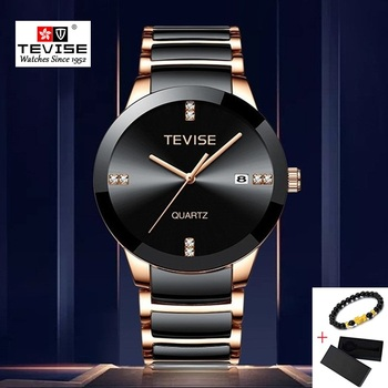 цены TEVISE Watch Men Luxury Man's Watches Casual Watches Waterproof Quartz Wristwatch Mens Ceramic Male Clock erkek kol saati 2019