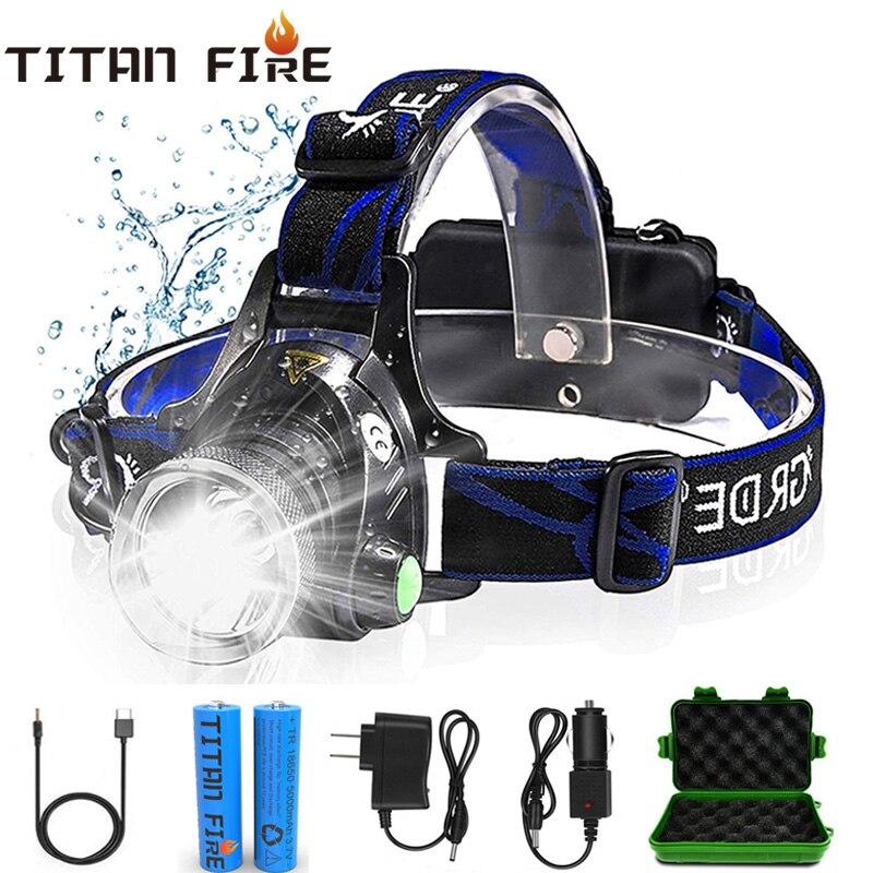 TL900 LED Headlamp T6/L2/V6 Headlight Zoom Waterproof Flashlight Rechargeable Battery Three Light Switch Mode Camping Flashing