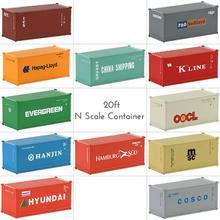 Contenedor de envío de contenedores de 20 pies con escala N diferente, mezcla de 3 uds., contenedor de envío 1:150 con imán, carga de automóviles, modelo de trenes C15007