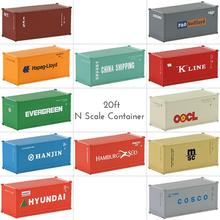 Mixed 3pcs Different N Scale 20ft Container Shipping Container 1:150 with Magnet Freight Cars Model Trains C15007