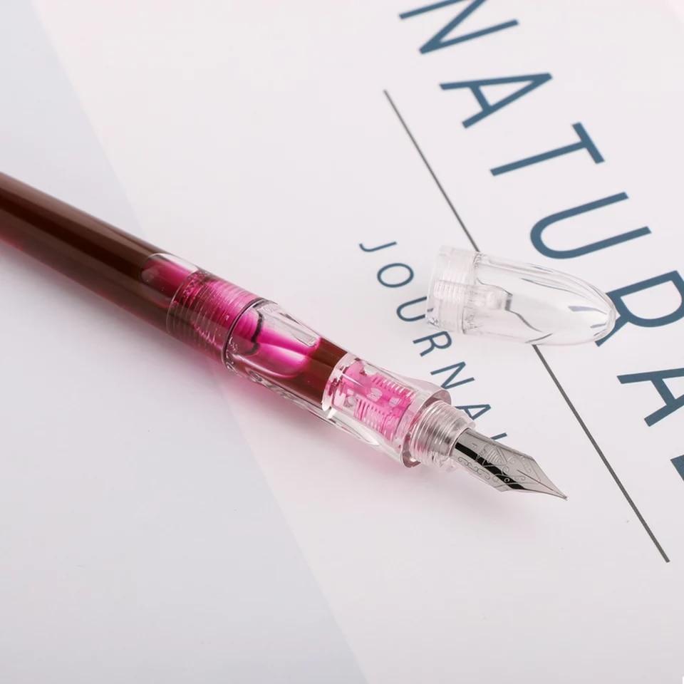 Clear Transparent Fountain Pen Ink Pen Eyedrop Pen Fine Nib Stationery Office School Supplies Writing Gift