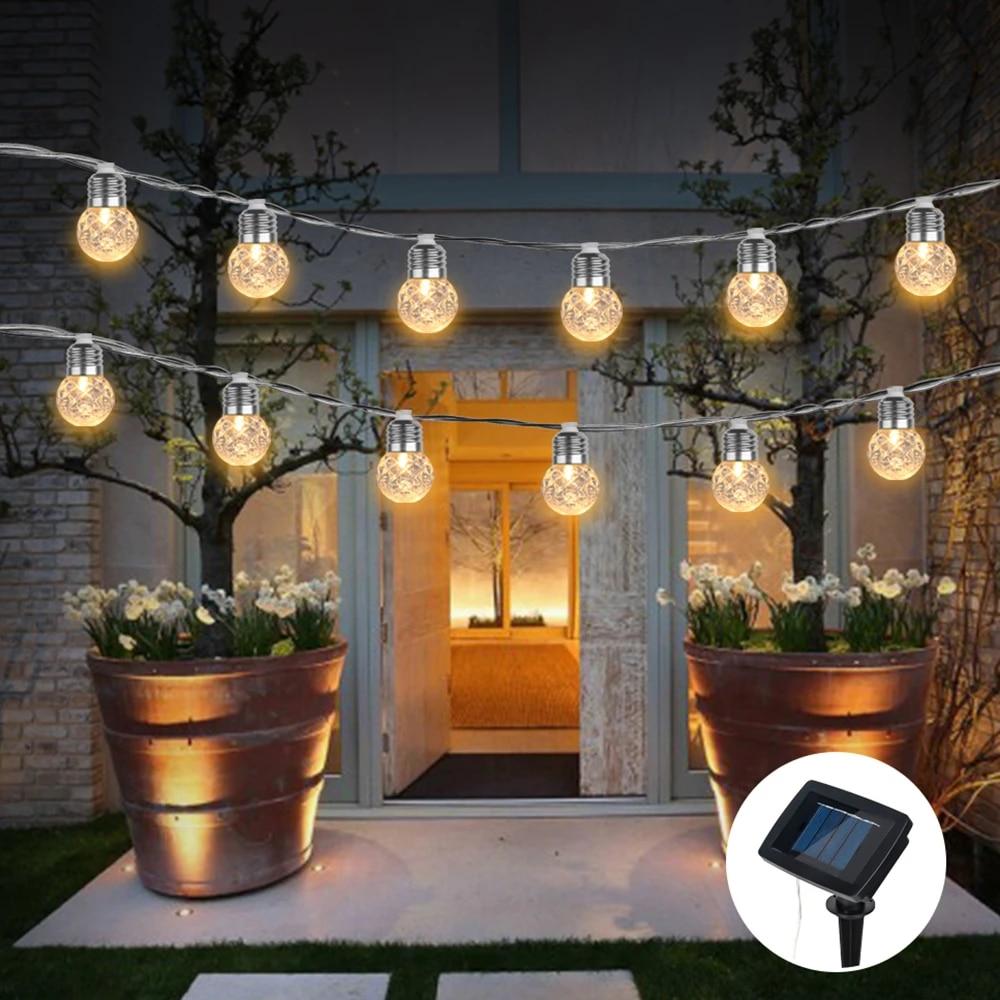 Wasserdicht Solar Globe Glühbirne Lichterketten Outdoor Ananas Ball LED  Lichterkette Garland Terrasse Kette Lampen Weihnachten Dekoration