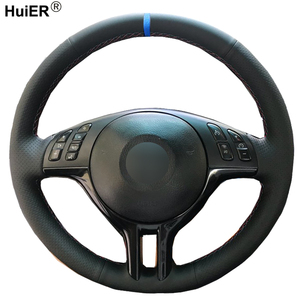 HuiER Hand Sewing Car Steering Wheel Cover For BMW E39 E46 325i E53 X5 Braid on the Steering-Wheel Wear resistant Car Protector