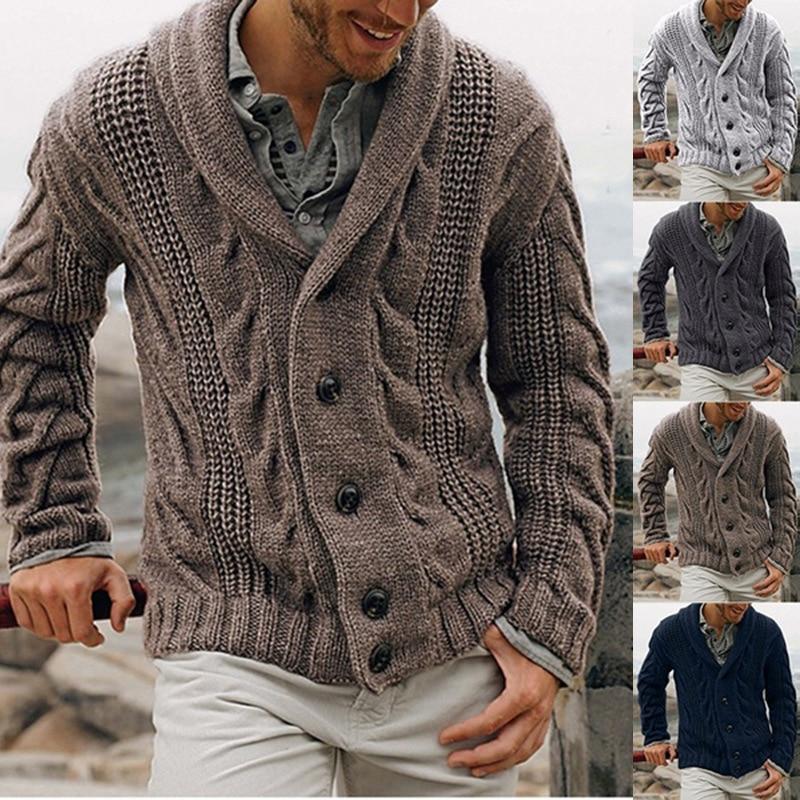US $24.99 50% OFF Mens Sweater Streetwear Autumn Winter Warm Cardigan Casual Slim Trun Down Collar Sweaters Comfortable Handsome Sweater