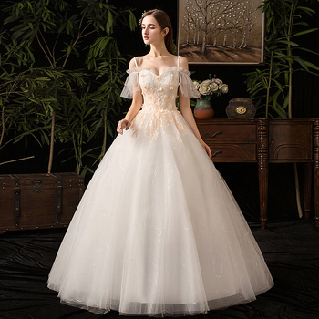 Wedding Dress 2019 New Sleeve Floor length Applique Lace Simple Princess Vintage Wedding Dresse Plus Szies Wedding Gown