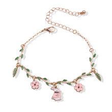 Style Fashion Sweet Girl Bracelets Alice Enamel Rabbit Flower Temperament Bracelet Women Jewelry