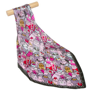 Image 5 - 100% Silk Scarf Women Scarf Cat Scarf Silk Big Bandana 2019 Hijab Print Cat Fish Middle Square Silk Scarf Wrap Hot Gift for Lady