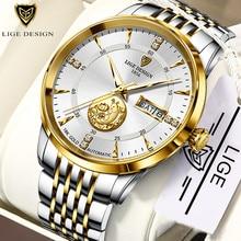 LIGE erkekler otomatik mekanik saatler lüks marka İş kol saati Tungsten çelik su geçirmez erkekler moda saati reloj hombre