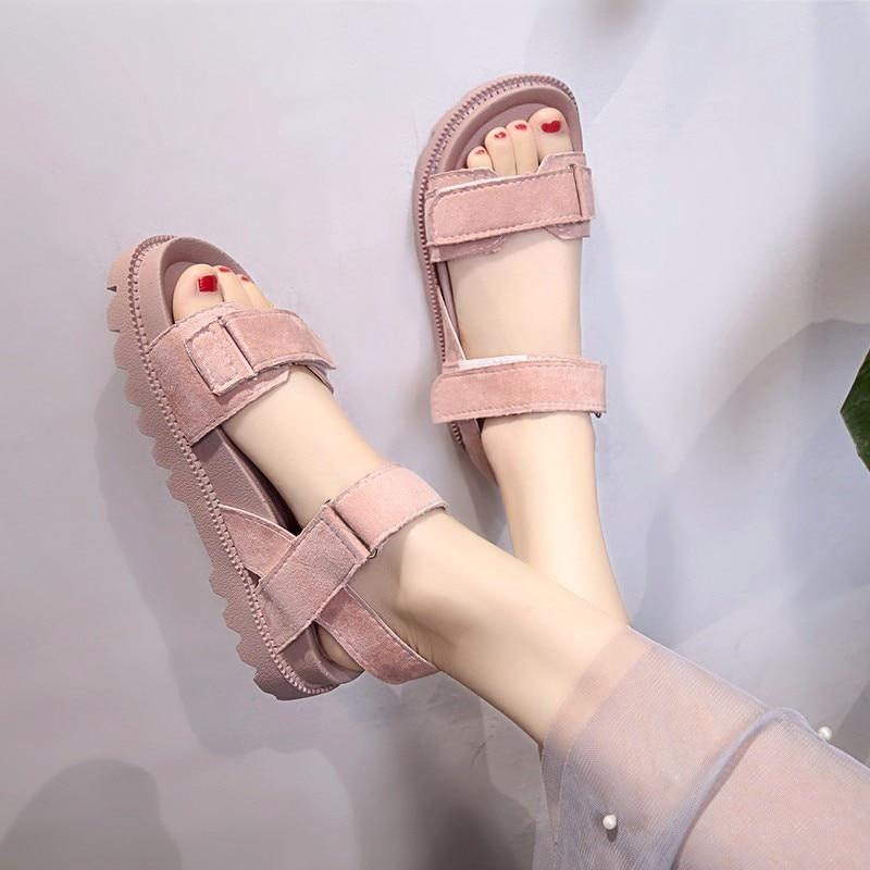 New Fashion Summer Women Sandals Female Beach Shoes Genuine Leather Sports Platform Sandals Flat Shoes Women Buty Damskie Ll231 Middle Heels  - AliExpress