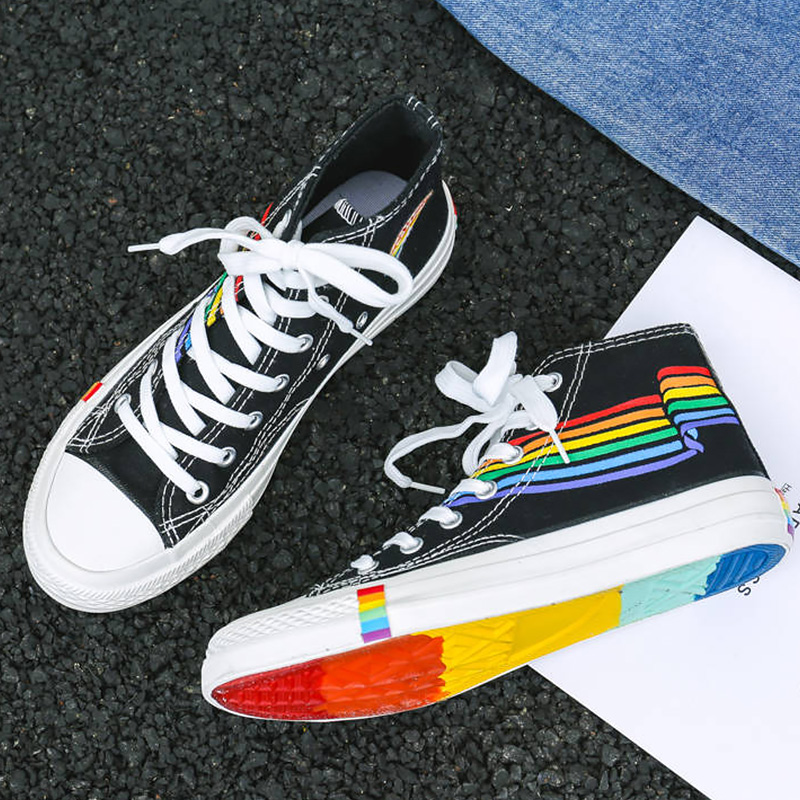 Shoes Woman Sneakers Rainbow Colors Designer High Top Canvas Shoes Girls Sport Shoes 2019 Autumn Fashion Unisex Sneakers Woman
