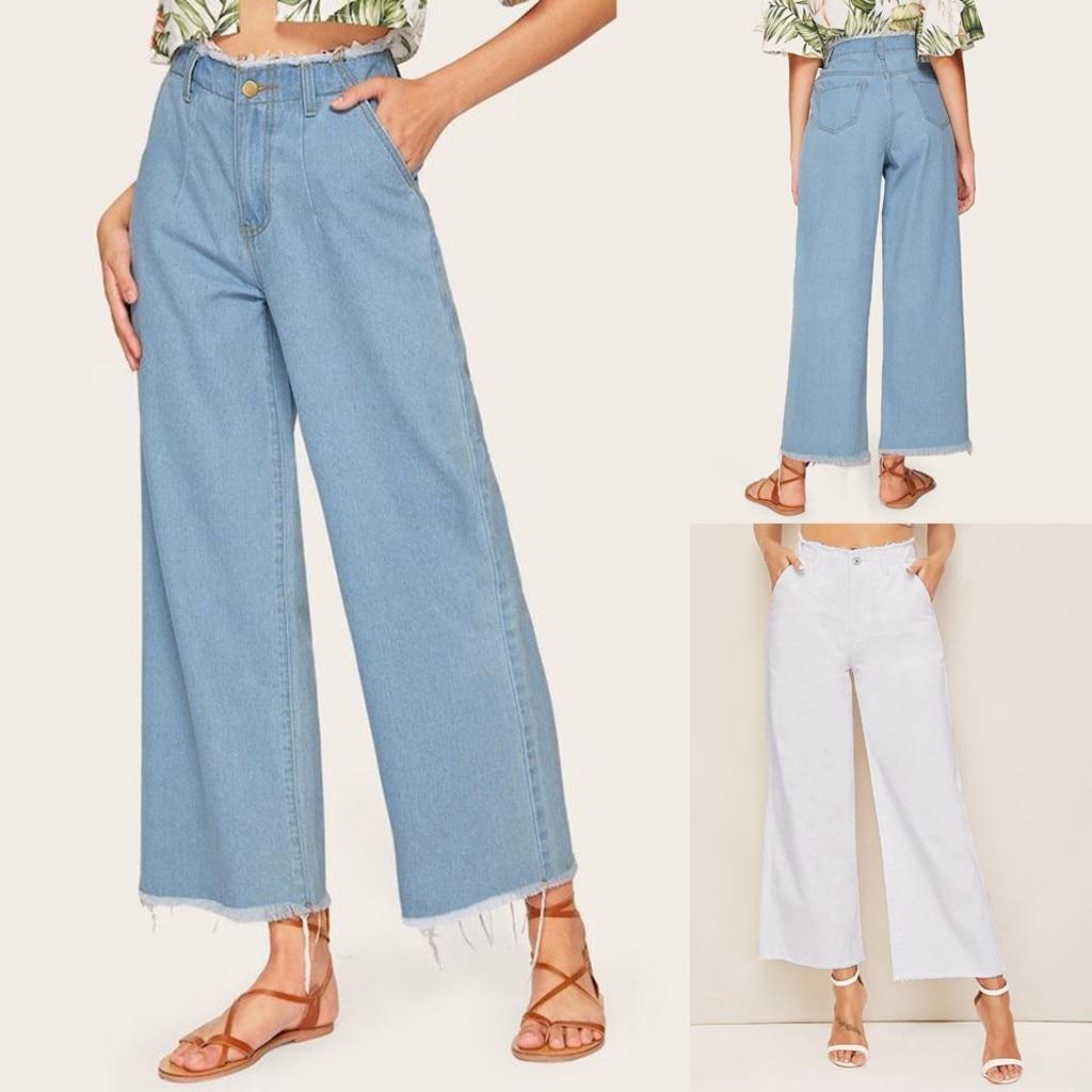 Women jeans Flare High Waist Loose Boyfriend jeans for women Button Drawstring Waist Bell Bottom Denim Pants Jeans Mujer S10