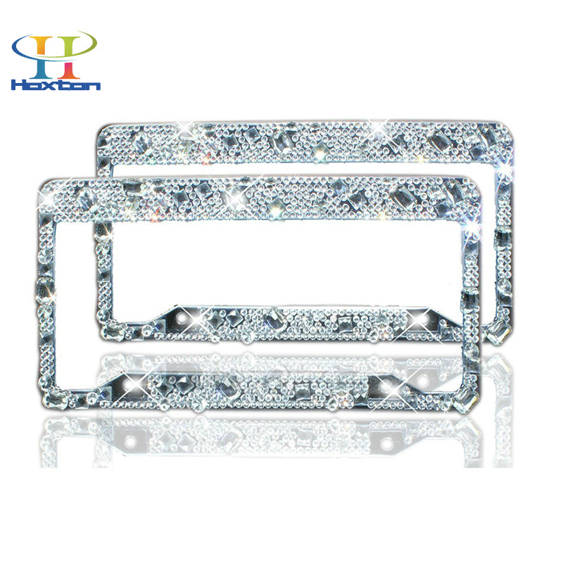License Plate Frame 2 Pack - Pure Handmade Waterproof Rhinestones Diamond Crystal License Frames Plate For Both Front An Back