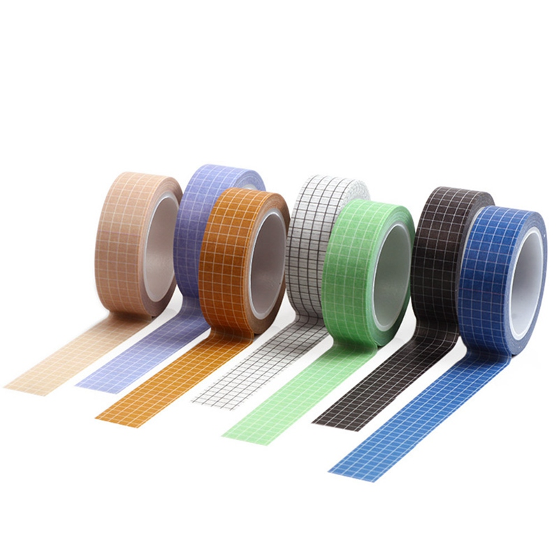 10M Solid Color Grid Washi Tape Japanese Paper DIY Planner Masking Tape Adhesive Tapes Stickers Decorative Stationery Tapes