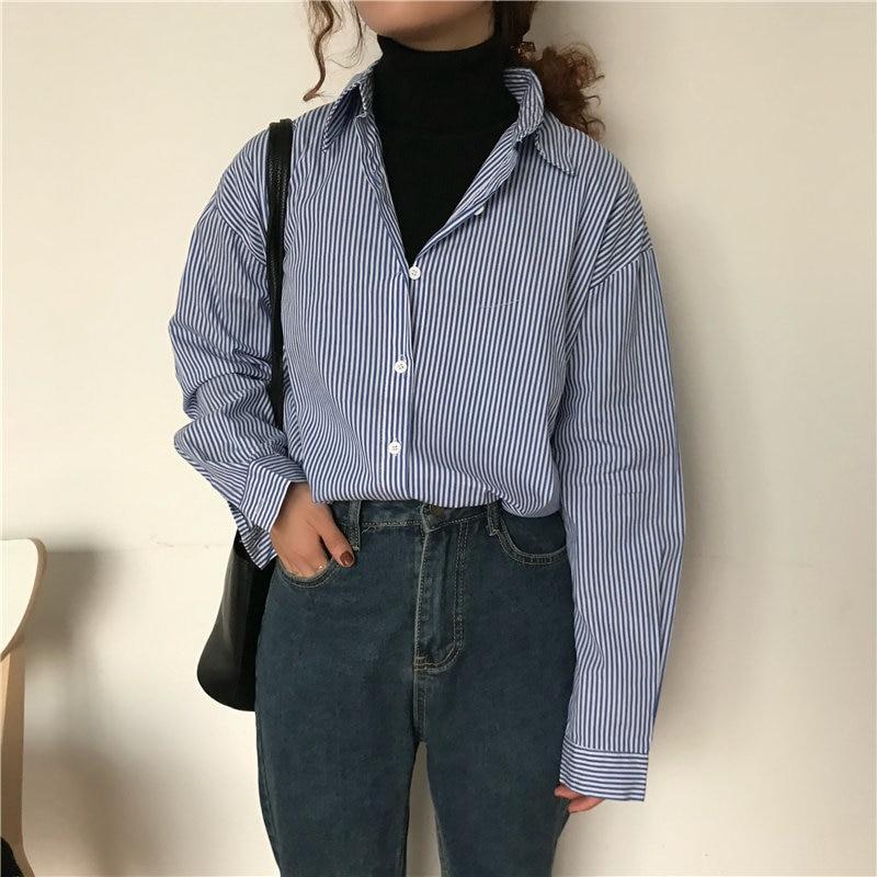 Alien Kitty New Blue Striped Office Ladies 2019 Casual Slim Women Vintage Slender Sweet Elegant Loose Fashion All-Match Shirts