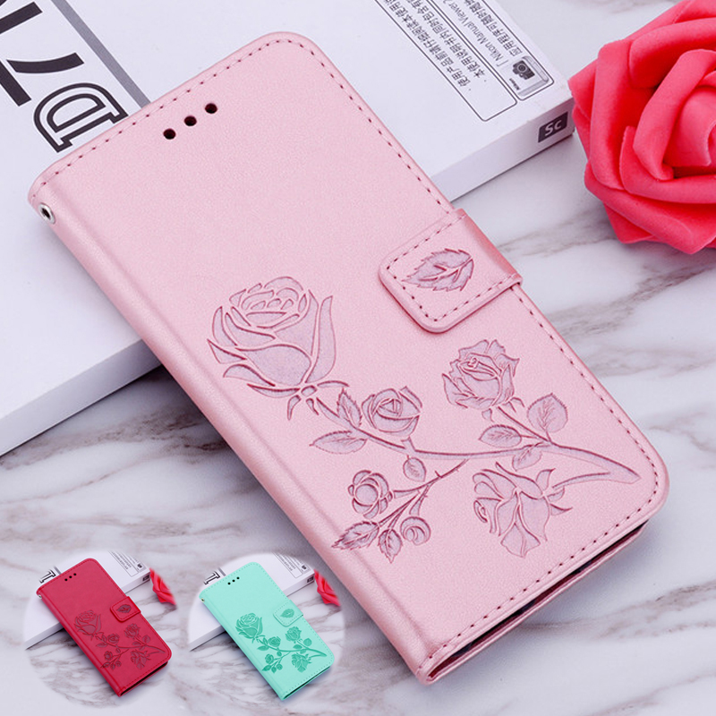 Rose Leather Case for <font><b>Huawei</b></font> <font><b>Mate</b></font> <font><b>20</b></font> 10 Lite Honor Play 3 7X 7C 8C 8X 3X <font><b>Pro</b></font> <font><b>Cover</b></font> Cases P Smart Plus PSmart Z Holly 2 Plus GT3 image