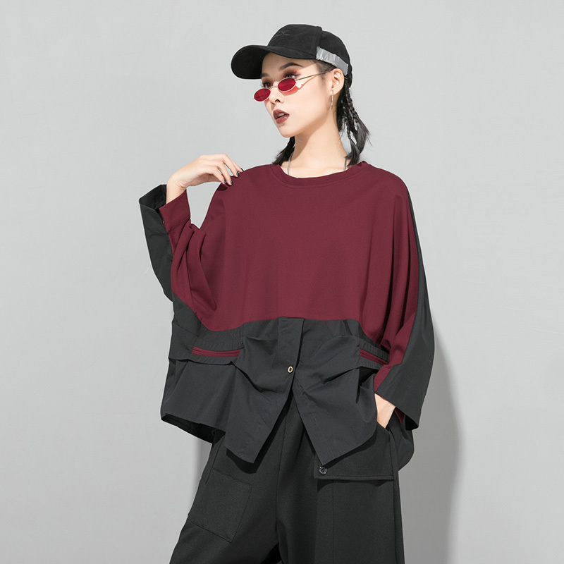 [EAM] Loose Fit Contrast Color Oversized Sweatshirt New Round Neck Long Sleeve Women Big Size Fashion Spring Autumn 2020 1D716 6