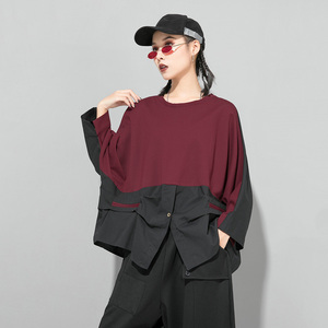 Image 5 - [EAM] Loose Fit Contrast Color Oversized Sweatshirt New Round Neck Long Sleeve Women Big Size Fashion Spring Autumn 2020 1D716