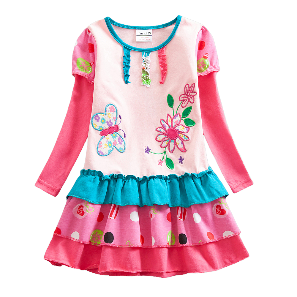 Girls Long Sleeve Dress Autumn New Cake Cotton Embroidered for Party