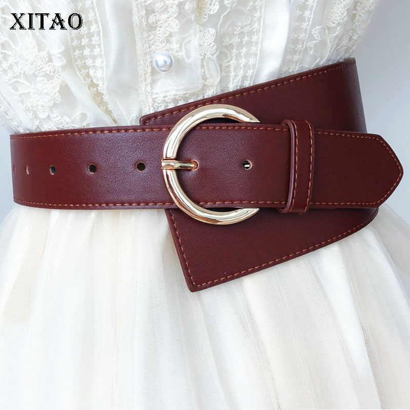 XITAO Tide Korean Style Irregular Cummerbunds Women Fashion Circle Metal Single Circle Glossy Women's Belt 2019 New GCC1309