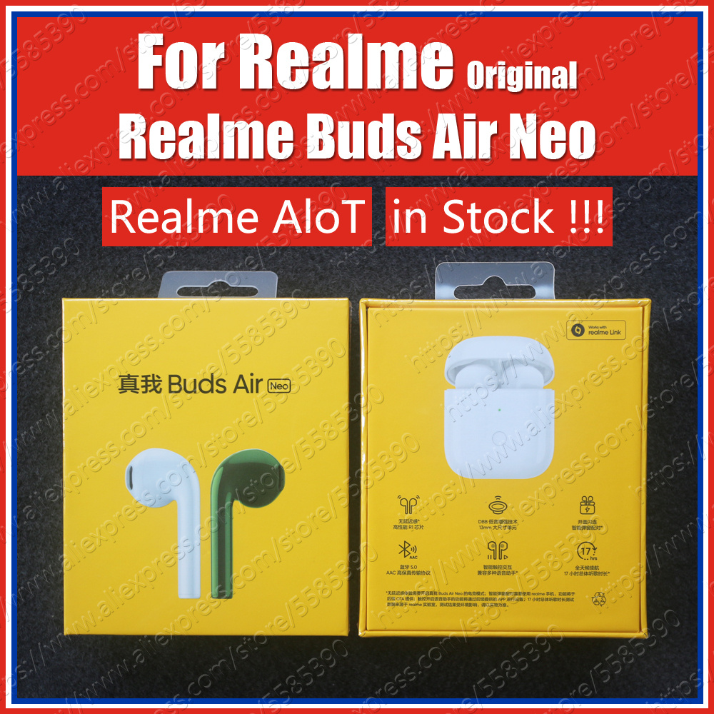 In Stock RMA205 R1 Chip 2020 Original Realme Buds Air Neo Tws Ture Wireless Bluetooth Earphones ENC Noise Reduction Headset