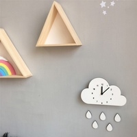 New Nordic Wooden Cloud Raindrop Shaped Cartoon Elephant Wall Clock For Nursery Kids Room Decoration Home Decor