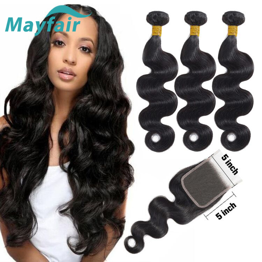 Mayfair Body Wave Bundles With Closure 5x5 Closure Brazillian Hair Bundles With Closure Non Remy Human Hair Bundles With Closure